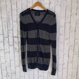 ALL SAINTS Striped Varsity Cardigan Sweater Navy